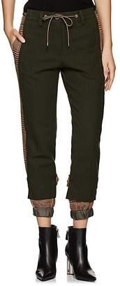 Sacai Women's Check-Paneled Wool Trousers