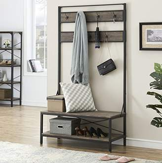 O&K Furniture 72 Inch Hall Tree with Storage Bench for Hallway and Entryway