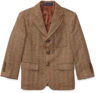 Ralph Lauren Princeton Herringbone Wool-Silk Blazer, Size 4-7