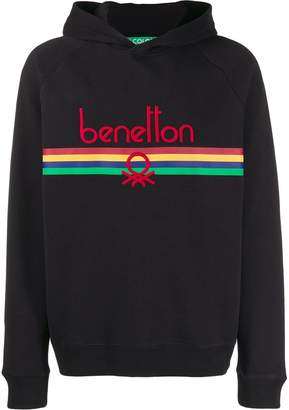 Benetton logo embroidered hoodie