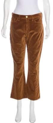 Frame Velvet Mid-Rise Straight-Leg Pants