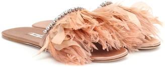 Miu Miu Feather-trimmed slides