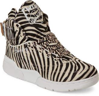 Patrick Ewing White & Black 33 Zebra High-Top Sneakers