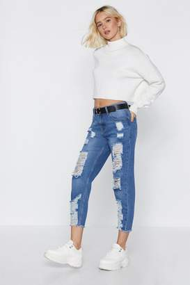 Nasty Gal Distress Play Mid-Rise Jeans