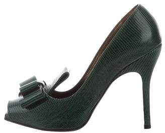Lanvin Lizard Peep-Toe Pumps
