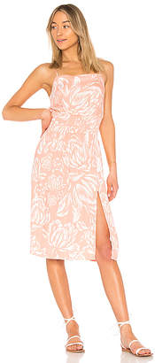 MinkPink Coral Floral Midi Dress