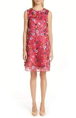 Mansur Gavriel Floral Sequin Silk Shift Dress
