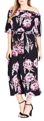 City Chic Plus Floral Cascade Jumpsuit