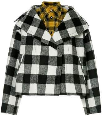 No.21 oversized lapel layered check jacket