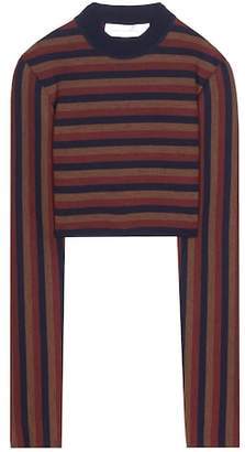 Victoria Beckham Striped virgin wool-blend cropped sweater