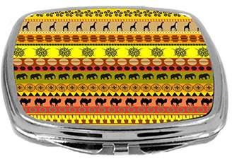 Rikki Knight Yellow Orange African Tribal Print Design Compact Mirror