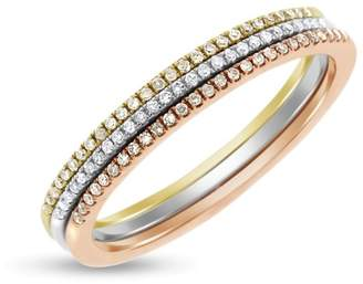 14k Tri-color Gold 0.15ct. Diamond Pave Set of 3 Rings Size 7