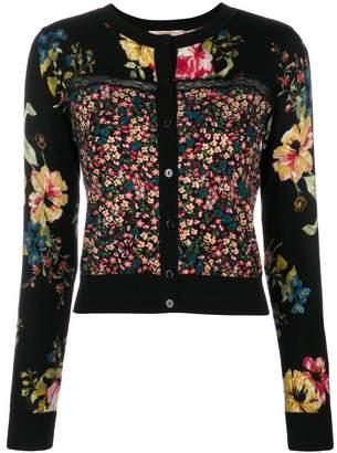 Twin-Set contrast floral cardigan