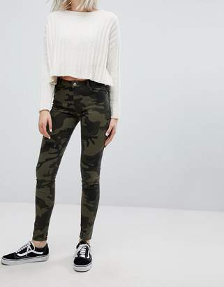 Bershka Camo Printed Skinny Jean