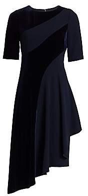 Teri Jon by Rickie Freeman Women's Velvet Stripe Asymmetrical Dress