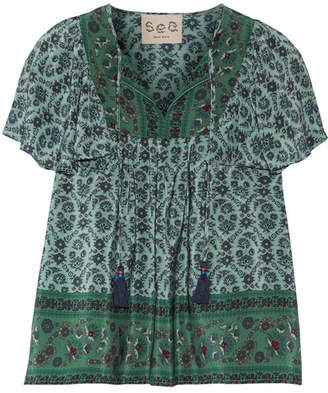SEA - Ruffled Printed Silk Blouse - Forest green $295 thestylecure.com