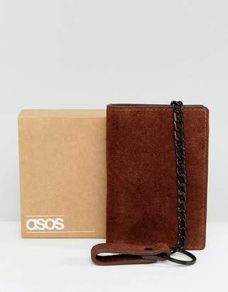 Asos DESIGN Suede Wallet In Brown With Chain