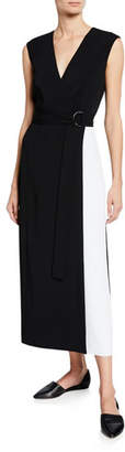 St. John Cady Faux-Wrap Colorblock Dress w/ Self Belt