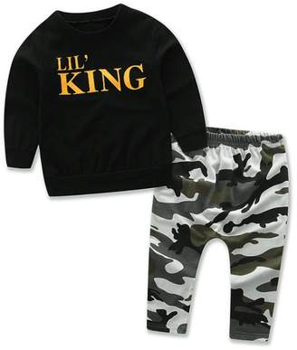 XWDA Baby Boys Outfits Toddler Kids Long Sleeve Letter Printed Tops+ Pants