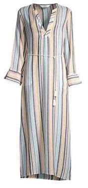 Splendid Playa Striped Linen-Blend Maxi Dress