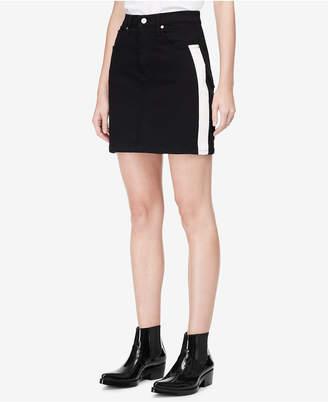 Calvin Klein Jeans Striped Denim Mini Skirt