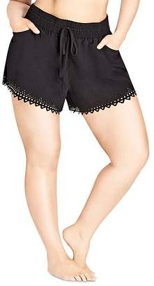 City Chic Plus Laser-Cut Drawstring Shorts