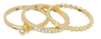 Covet Crystal & Textured Stacking Rings - Set of 3