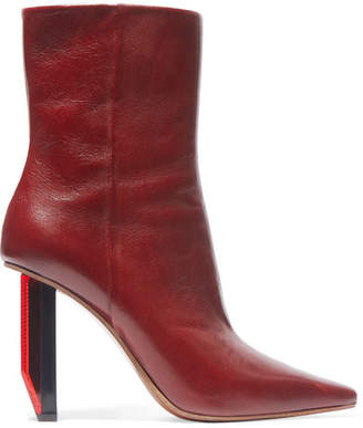 Vetements - Textured-leather Ankle Boots - Burgundy $1,720 thestylecure.com
