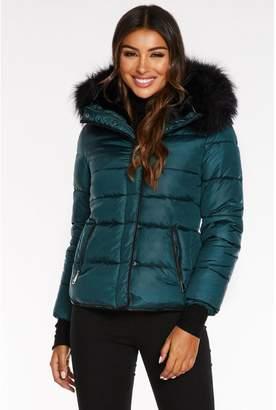 Quiz Teal Padded Faux Fur Trim Jacket