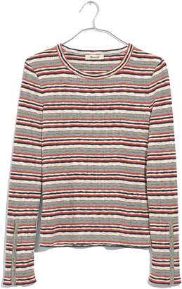 Madewell Elsie Stripe Button Sleeve Tee