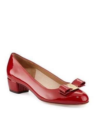 Salvatore Ferragamo Vara 1 Patent Bow Pumps, Red (Rosso)