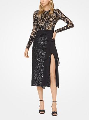 Michael Kors Leaf Sequined Stretch Pebble-Crepe Scissor Skirt