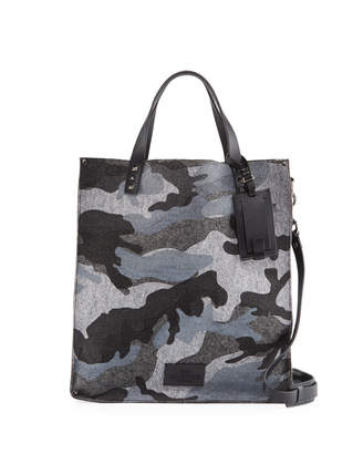 Valentino Camouflage Felt Tall Tote Bag