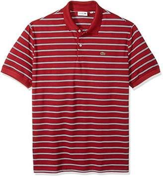 Lacoste Men's Short Sleeve Stripe Pique Regular Fit Polo