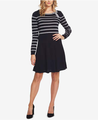 CeCe Striped Bow-Neck Sweater Dress