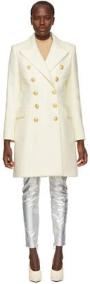 Balmain White Ten-Button Peacoat