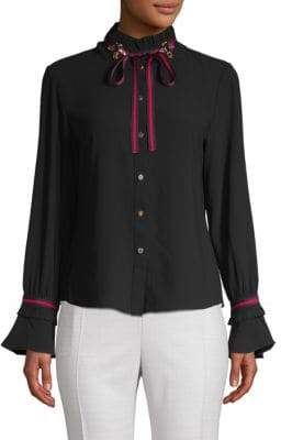 Pleated Collar Embellished Blouse