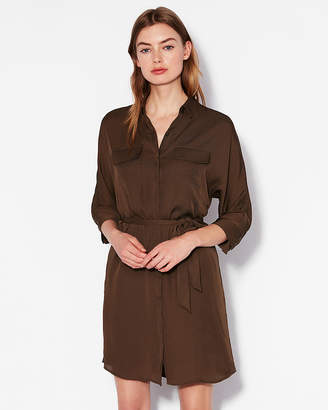 Express Dolman Sleeve Pocket Shirt Dress