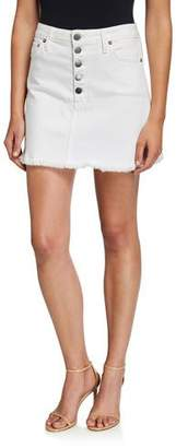 Alice + Olivia JEANS Good High-Rise Exposed Button Short Skirt