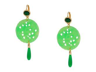 Kenneth Jay Lane Gold/Jade Top/Large Carved Jade/Jade Drop Wire Earrings