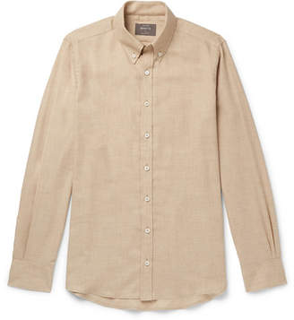 BEIGE Private White V.C. - Slim-fit Button-down Collar Cotton And Wool-blend Shirt