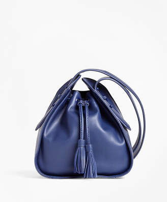 Brooks Brothers Leather Cross-body Bucket Bag