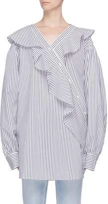 J KOO Asymmetric ruffle placket stripe shirt