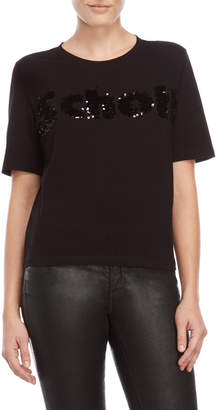 Maje Black Sequin Embroidered Tee