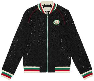 Gucci Flower lace bomber with patch
