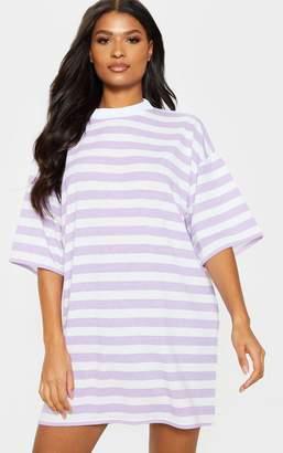 d531ac8158aa PrettyLittleThing Lilac Stripe Oversized Boyfriend T Shirt Dress