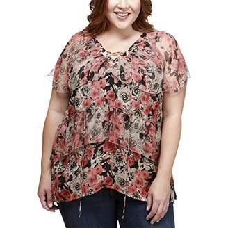 Lucky Brand Women's Ruffle Rose Plus-Size Top