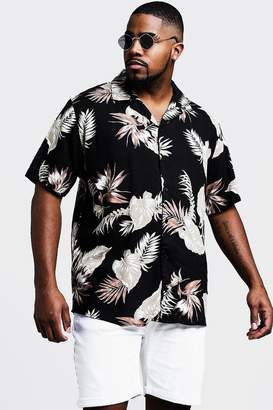 Big & Tall Floral Print Revere Collar Shirt