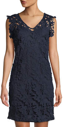 Julia Jordan Floral Lace Cap-Sleeve Midi Dress