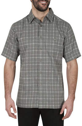 Haggar Windowpane Short-Sleeve Microfiber Sport Shirt